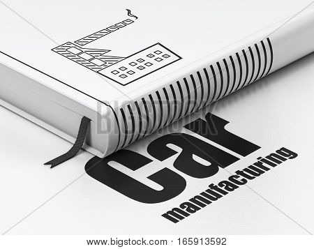 Manufacuring concept: closed book with Black Industry Building icon and text Car Manufacturing on floor, white background, 3D rendering