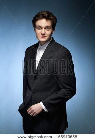 Portrait of a Young Man in Suit.
