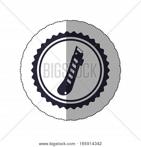 middle shadow sticker with circular frame with cutter vector illustration