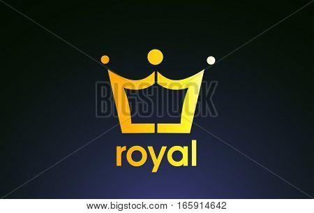 Gold golden king crown yellow vector logo icon sign design template