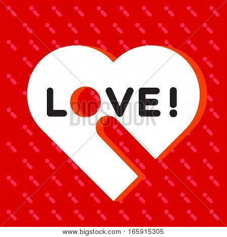 Big white heart with LOVE word and exclamation mark on the red background and exclamation mark pattern.