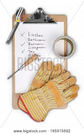 Clipboard with Checklist and Measuring Tape, Gloves, Tape and Screwdriver