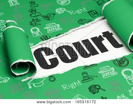 Law concept: black text Court under the curled piece of Green torn paper with  Hand Drawn Law Icons, 3D rendering