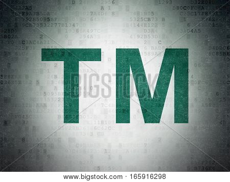 Law concept: Painted green Trademark icon on Digital Data Paper background