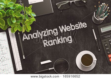 Black Chalkboard with Analyzing Website Ranking. 3d Rendering. Toned Illustration.