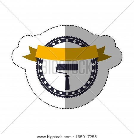 middle shadow sticker with circular frame with paint roller and ribbon vector illustration