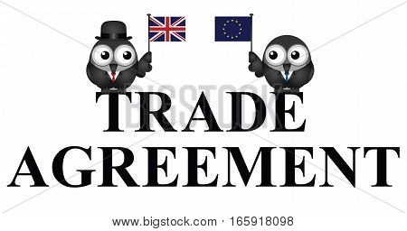 Comical United Kingdom European Union Trade Agreement negotiations following the June 2016 referendum isolated on white background