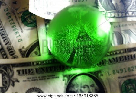 Usd Dollar Bill Eye Pyramid