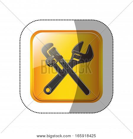 middle shadow sticker in yellow square with crossed wrenches vector illustration