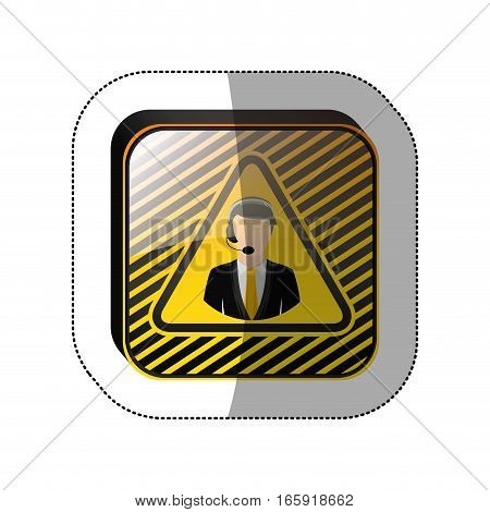 middle shadow sticker in yellow square with call center operator vector illustration
