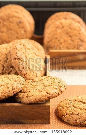 Many Of Oatmeal Cookies In Two Wooden Boxes