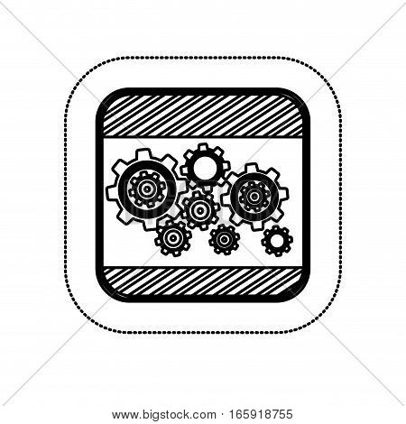 sticker monochrome square with gear wheel vector illustration