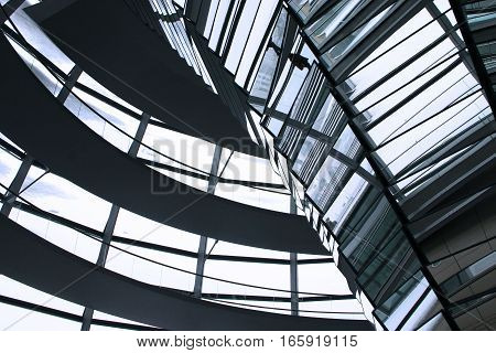 18 NOVEMBER 2005: Abstract detail view of the modern architecture within the Reichstag building, Germany.