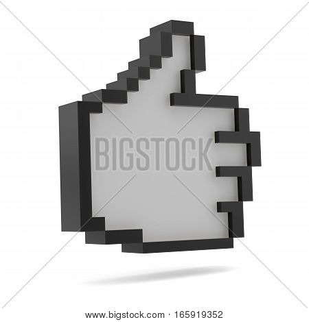 Thumbs Up. Black and white. Pixel style for your design. 3D illustration