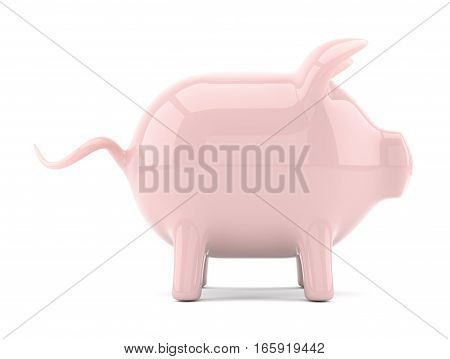 Pink piggy bank isolated on white. Side view. Place your icon or text. 3D illustration