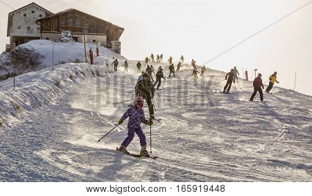 Mont Joux France- December 292014: Unidentified people skiing on a in Mont Joux in Beaufortain Massif in Haute-Savoie close to Mont Blanc Massif.