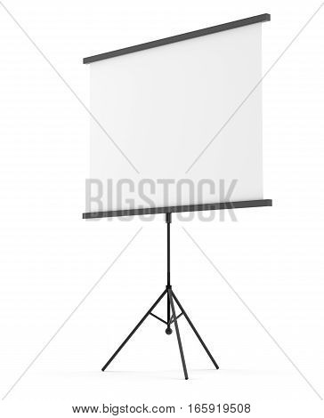 Blank portable projection screen over white background. 3D illustration