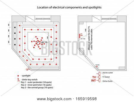 Detailed architectural plan. Lamps and sockets. Architecture background. Vector Eps 10 illustration