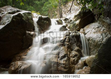 the Secret waterfall on Koh Samui, Thailand
