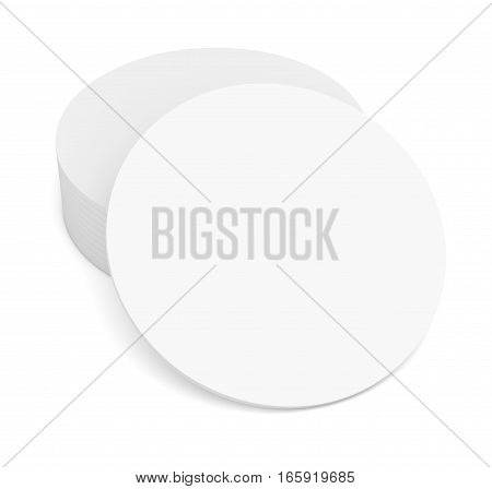 Empty white beer coaster. Isolated on white background. 3d illustration