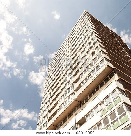 1960's built high rise block of flats in east London.