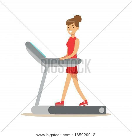 Woman Walking On Treadmill , Member Of The Fitness Club Working Out And Exercising In Trendy Sportswear. Healthy Lifestyle And Fitness Set Of Illustrations With Person Visiting Gym