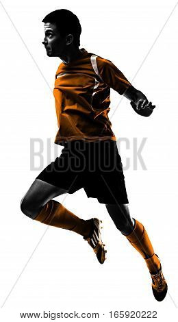 one brazilian soccer football player young man heading in silhouette studio isolated on white background