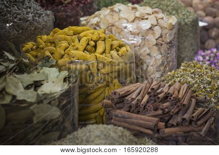 Dubai Spice Souk or the Old Souk is a traditional market in Dubai United Arab Emirates (UAE) selling a variety of fragrances and spices.