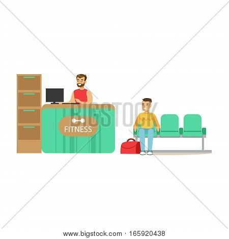 Fitness Club Reception Counter With Female Receptionist And Computer With Club Member Waiting. Healthy Lifestyle And Fitness Set Of Illustrations With Person Visiting Gym
