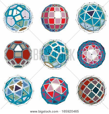Set Of Abstract 3D Faceted Figures With Connected Lines. Vector Low Poly Design Elements Collection,