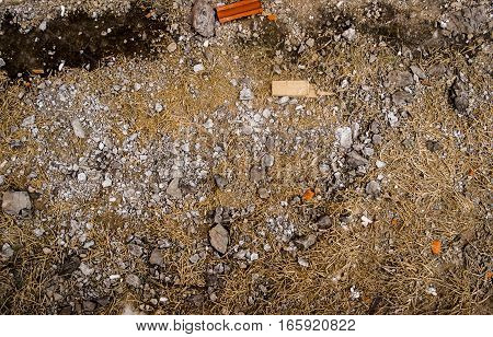 Ground, ground texture, gravel, dry grass, nature background