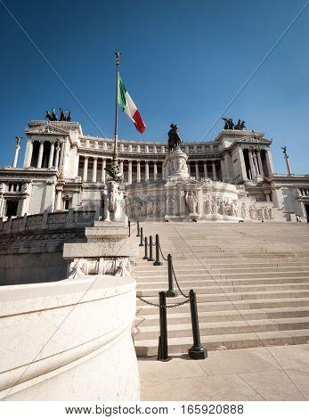 A low-angle view of the popular Rome landmark The Monumento Nazionale a Vittorio Emanuele II (The Altare della Patria).