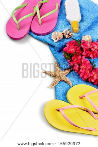 Flip-Flops, Towel, Sun Cream, Garland of Flowers and Seashells