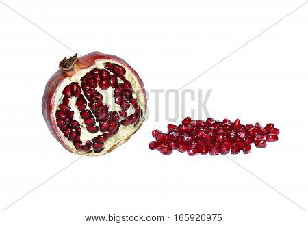 Fruit and red pomegranate grains isolated on white background