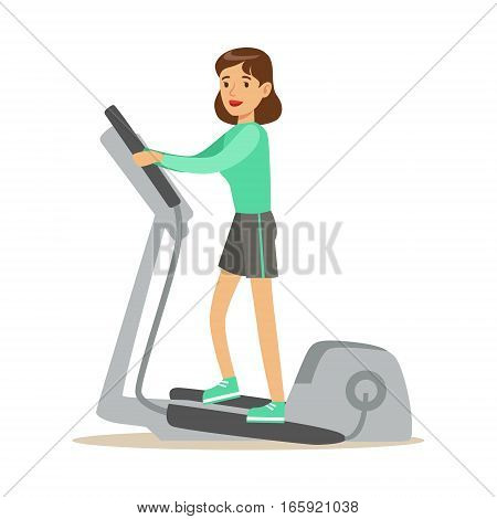Woman On Staircase Simulator , Member Of The Fitness Club Working Out And Exercising In Trendy Sportswear. Healthy Lifestyle And Fitness Set Of Illustrations With Person Visiting Gym