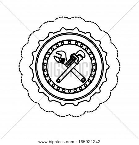 monochrome silhouette sticker between circular shape with crossed wrenches vector illustration