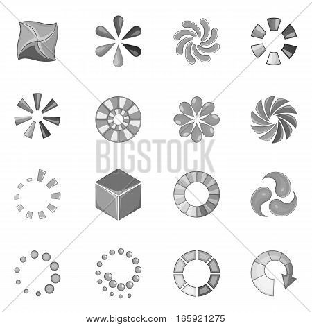 Download status icons set in monochrome style isolated on white background