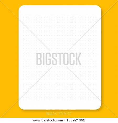 READY TO PLOT Dot pattern on the white plain paper with yellow background is ready to plot that can create graph chart design draft or do scrapbook.