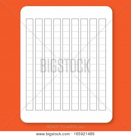 READY TO WRITE two White plain paper printed with table pattern on the red background is ready to use or print for people who would like to write Japanese character.