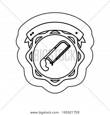 monochrome silhouette sticker with hacksaw between circular shapes and ribbon vector illustration