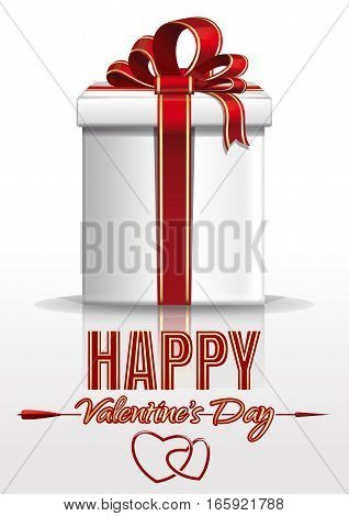 Valentine's Day design with gift box and greeting inscription. Happy Valentine's Day. Greeting card for Valentine's Day. Vector illustration isolated on white background