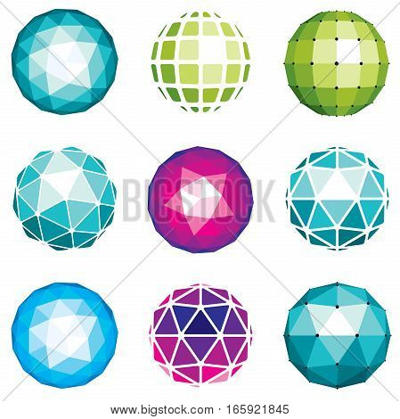 3D Vector Digital Spherical Objects Made Using Different Geometric Facets. Polygonal Orbs, Low Poly