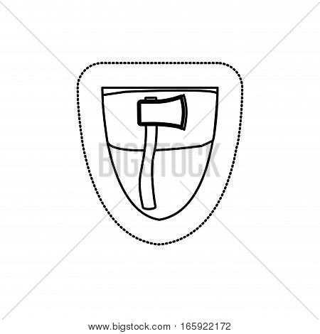 monochrome silhouette sticker with shield frame with ax vector illustration