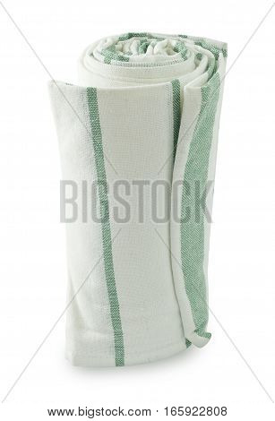 Kitchen Utensil White and Green Napkin Serviette or Kitchen Towel Isolated on White Background.