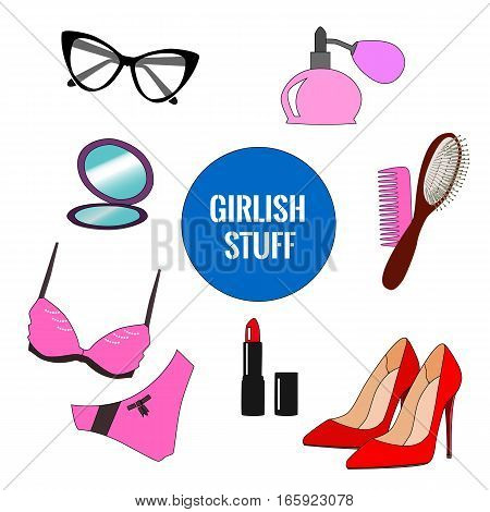 Vector set of girlish things: shoes, glasses, swimsuit mirror, pomade, perfume comb. Flat, cartoon style illustration for Web design poster print element advertisement.