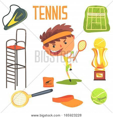 Boy Tennis Player, Kids Future Dream Professional Occupation Illustration With Related To Profession Objects. Smiling Child Carton Character With Career Attributes Around Cute Vector Drawing.
