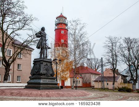 monument to peter the great in russian baltiisk city on autumn day