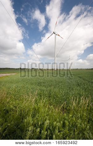 A rural view of the Dutch flat landscape dotted with wind turbines.