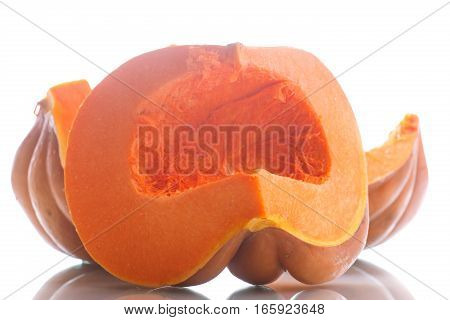 piece of ripe pumpkin on a white background