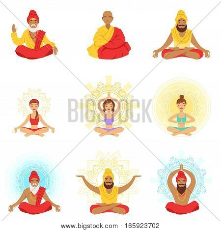 Yogis and sages, people in the Lotus position, expansion of consciousness and meditation Of Illustrations.